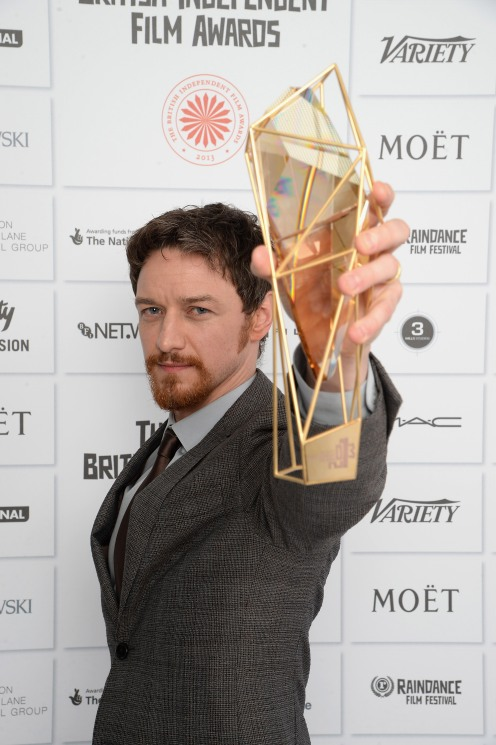 LONDON, ENGLAND - DECEMBER 08: James McAvoy winner of the Best Actor Award attends the Moet British Independent Film Awards 2013 at Old Billingsgate Market on December 8, 2013 in London, England. (Photo by Dave J Hogan/Getty Images for The Moet British Independent Film Awards)